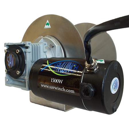 This is an image of a 1500W Savwinch at a different angle with motor up close