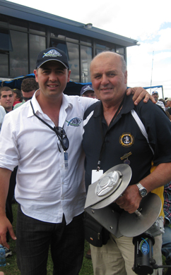 Nick with Frank Camilleri, winner of the Savwinch boat anchor winch and the Savwinch