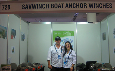 Nick and Eleni Savva standing in the 2011 Sydney Boat Show