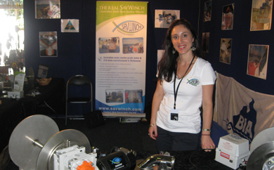 Eleni Savva standing in the 2012 Brisbane Tinnie and Boat Show