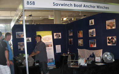Nick from Savwinch talking to some of the crowd about his electric anchor winches