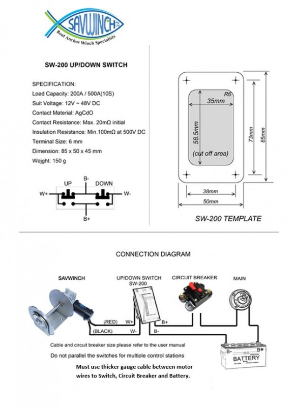 wiring diagram savwinch boat anchor winch specialists rh savwinch com au Warn Winch Controller Wiring Diagram Winch Wiring Kit