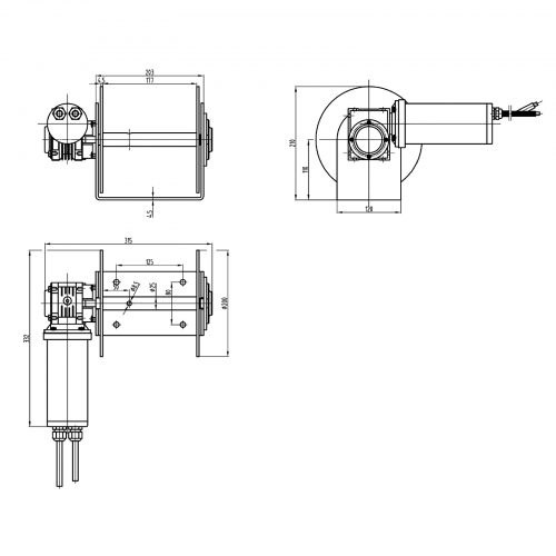 880 Drum Anchor Winch Drawing